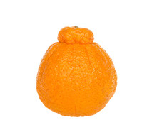 One Large Sumo Orange Isolated On White Background. Native To Japan, Sumo Oranges Are A Hybrid Citrus Fruit That's A Cross Between Mandarin And A California Naval Orange