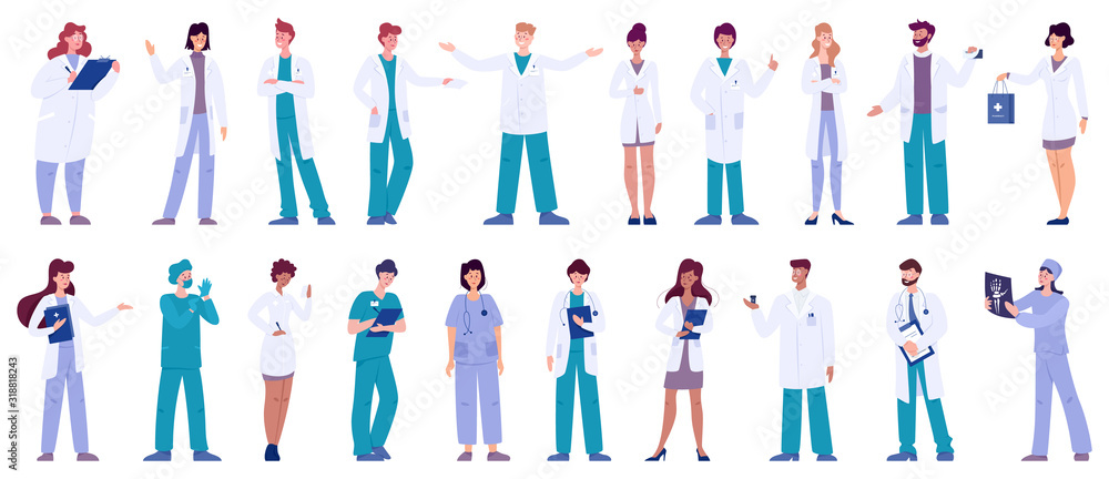 Fototapeta Set of doctor and nurse characters with various poses