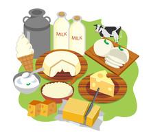 北海道 チーズ バター 牛乳 イラスト