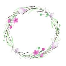 Watercolor Wreath, Spring, Eas...
