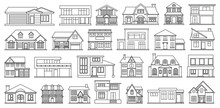 Villa Of House Vector Outline,line Set Icon.Vector Illustration Building Of Home.Isolated Outline,line Set Icon Villa Of House On White Background .