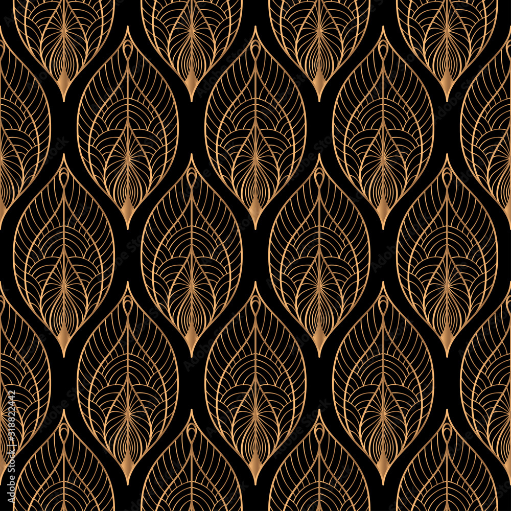 Peacock feathers floral royal pattern seamless. Gold black luxury background vector. Indian design for christmas wrapping paper, beauty spa, new year wallpaper, birthday gift, wedding party.