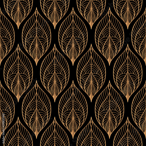 Naklejki paw   peacock-feathers-floral-royal-pattern-seamless-gold-black-luxury-background-vector-indian-design-for-christmas-wrapping-paper-beauty-spa-new-year-wallpaper-birthday-gift-wedding-party