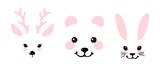 Fototapeta Fototapety na ścianę do pokoju dziecięcego - Set of portraits of wild forest animals. Bear, deer and hare. Flat vector illustration, cartoon characters for nursery.
