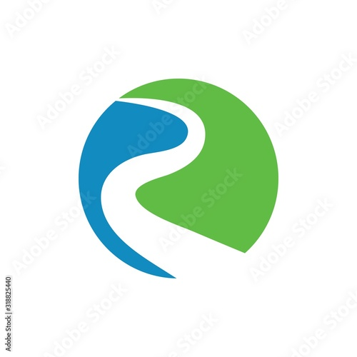 River icon Vector Illustration design Logo Canvas