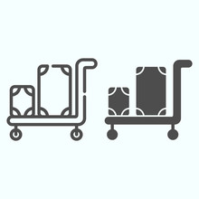 Luggage Trolley Line And Solid Icon. Baggage On A Tray Vector Illustration Isolated On White. Trolley Baggage Outline Style Design, Designed For Web And App. Eps 10.
