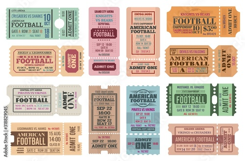 Fényképezés American football vector game tickets, isolated on white