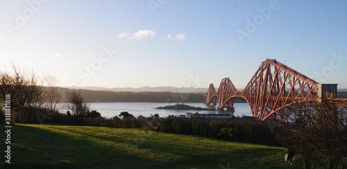 Fotografie, Obraz VIEW OF SUSPENSION BRIDGE OVER RIVER