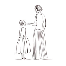 Mom And Daughter Are Standing ...