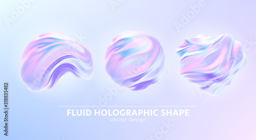 Fototapeta Set of Trendy realistic pattern with holographic 3d shape on blue background for banner design. Fluid shape background. Rainbow background. Fluid holographic pattern. Vector illustration obraz