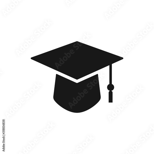 Photo Square academic cap, Simple graduate cap silhouette icon