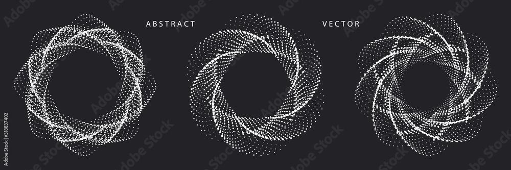 Fototapeta Set of Monochrome Spiral Dotted Graphic Elements on Dark Background. Geometric Vector Symbols.
