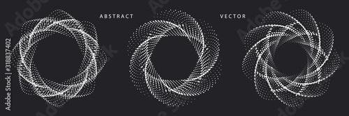 Obraz Set of Monochrome Spiral Dotted Graphic Elements on Dark Background. Geometric Vector Symbols. - fototapety do salonu