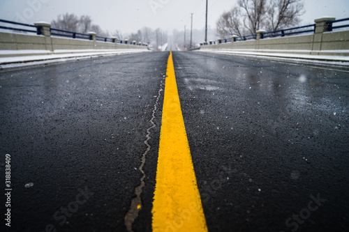 Fotografie, Obraz Surface Level Of Yellow Marking On Road