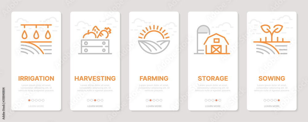 Fototapeta Farming realted vertical cards. Mobile app onboarding screens Templates for a website. Icons with editable stroke
