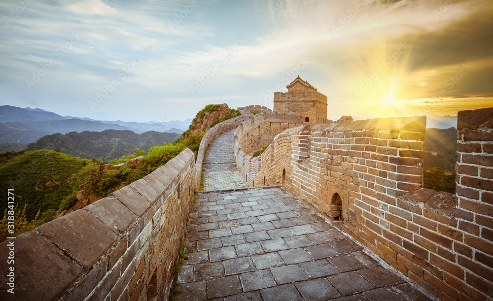 Fotografie, Obraz Great Wall Of China Against Cloudy Sky