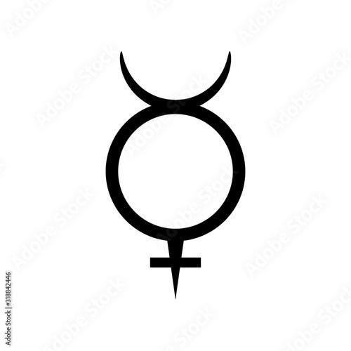 Fototapeta Mercury symbol, planet sign icon, vector illustration