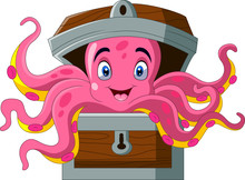 Cartoon Octopus In A Chest