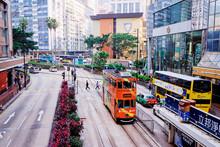 Traffic On The Street Of Hong Kong City.