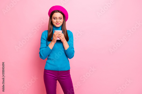 Portrait of charming dreamy girl hold hot caffeine beverage enjoy smell aroma wear good looking outfit isolated over pink pastel color background
