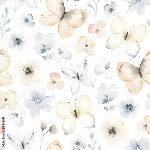 Tapety białe  seamless-pattern-with-flying-gentle-butterflies-and-flowers-vector-floral-illustration-on-white-background-in-vintage-watercolor-style