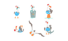 Seagull Sailor In Stripped Vest Collection, Funny Captain Bird Cartoon Character In Various Actions Vector Illustration