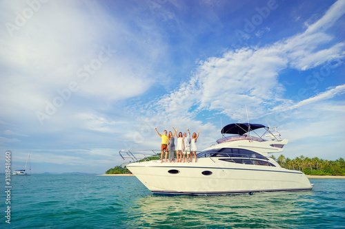 people standing on the yacht