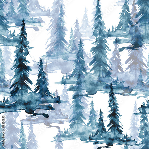 jednolite-wzor-akwarela-tlo-niebieski-i-bialy-akwarela-bezszwowe-wzor-drzewa-iglaste-niebieska-sylwetka-swierk-sosna-cedr-modrzew-streszczenie