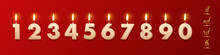 Birthday Candles With Burning Flames And Ending Of The Words Isolated On Red Background. Vector Design Elements.