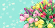 Tulip Flowers hearts turquoise background toned