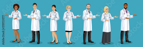 Fototapeta Big set of male and female doctors different nationalities. Men and woman medical staff are standing half turn and pointing by hand. European, Asian, African American, Arab hospital employees. Vector obraz