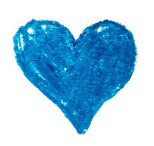 Dark Blue Pastel Texture Heart Made Of Paper Isolated On White Background, Concept Mother's Day, Valentine's Day, Birthday