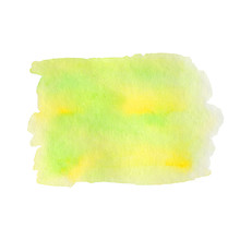 Watercolor Hand Painted Abstract Yellow Green Background. Subtle Ink Gradient On Textured Paper. Creative Aquarelle Painted Spring Colors Canvas For Splash Design, Invitation, Vintage Template