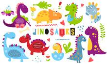 Cute Dinosaurs Set. Hand Drawn...