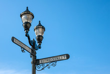 Antique Iron Streetlight On The Corner Of Washington And Third Streets In Downtown Hoboken, New Jersey