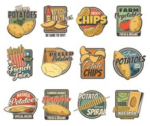 Potato Products, Farm And Food Package Vector Icons. Potato Chips And Wedge Snack, Fast Food French Fries And Mashed Potatoes Recipe Pack, Tornado Spiral Snack