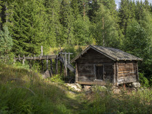 Historical Log Wooden Log Cabin In Sweden