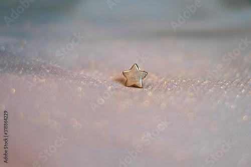 Fotografiet kleiner goldener Stern auf glitzerndem Stoff in Pastelltönen, der märchenhaft un