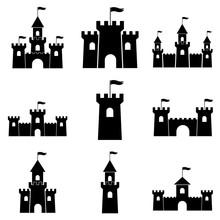 Castle Palace Set Icon, Logo Isolated On White Background