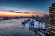 Leinwanddruck Bild - Hamburger Hafen bei schöner Abndstimmung von der Elphi aus gesehen