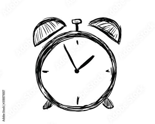 Photo Hand drawn alarm clock isolated on white background