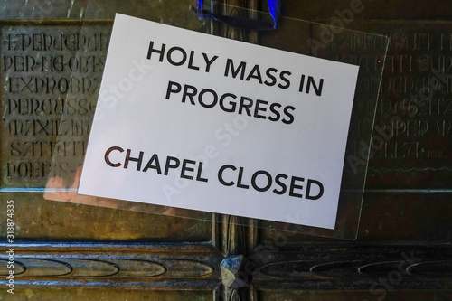 Jerusalem, Israel A sign says mass is in progress at the churcgof the flagellation Canvas Print