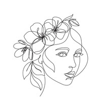 Woman Face With Flowers One Li...