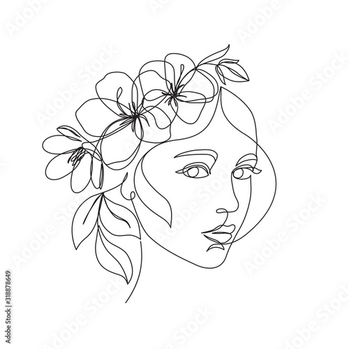 Woman face with flowers one line drawing. Continuous line drawing art. Flower bouquet in woman head single line art. Vector line illustration. Nature cosmetics. Minimalist Black White Drawing Artwork Wall mural