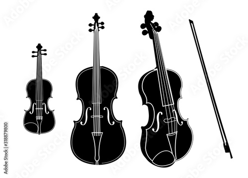 Vászonkép Vector cello and violin isolated on white