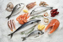 Fresh Fish And Seafood On Ice,...