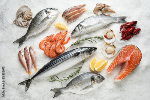Obraz Fresh fish and seafood on ice, flat lay - fototapety do salonu