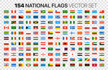 154 National Flags Vector Set Isolated On Transparent Background