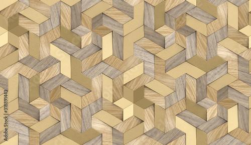 Tapety Loftowe  tapeta-3d-mozaika-z-drobinek-litego-drewna-i-luksusowych-zlotych-elementow-metalowych