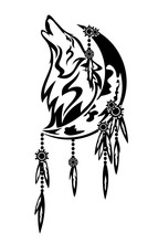 Howling Wild Wolf And Crescent...